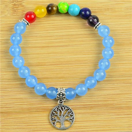 Lucky Bracelet Collection 7 Chakras Beads 8mm in Blue Aventurine Stone on elastic thread 79278