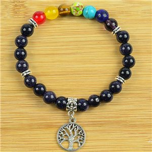 Lucky Bracelet Collection 7 Chakras Beads 8mm in Blue Sun Stone on elastic thread 79279