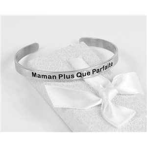 Message   Mom More Than Perfect   Stainless Steel Bangle 79421