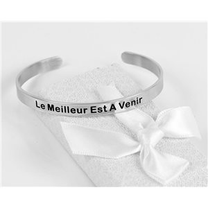 Message   The Best Is To Come   Stainless Steel Bangle 79425