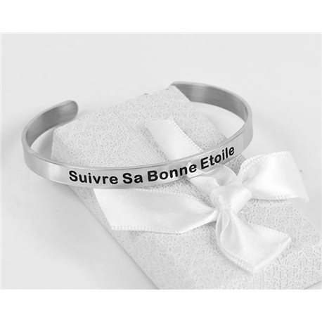 Message   Follow His Good Star   Stainless Steel Bangle 79417