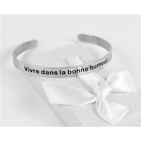 Message | Live in a good mood | Stainless Steel Bangle 79424