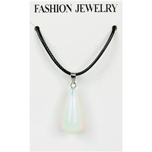 NEW Moonstone Pendant Necklace on cord L43-48cm 79286