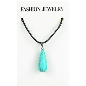 NEW Turquoise Howlite Stone Pendant Necklace on cord L43-48cm 79296