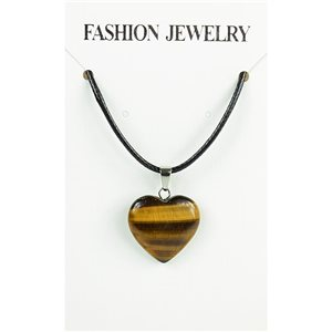 NEW Tiger Eye Stone Pendant Necklace on cord L43-48cm 79306