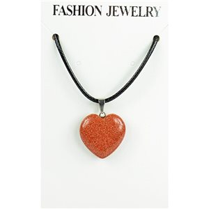 NEW Necklace Pendant in Stone of the Red Sun on a cord L43-48cm 79311