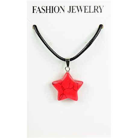 NEW Necklace Pendant in Red Howlite Stone on cord L43-48cm 79321