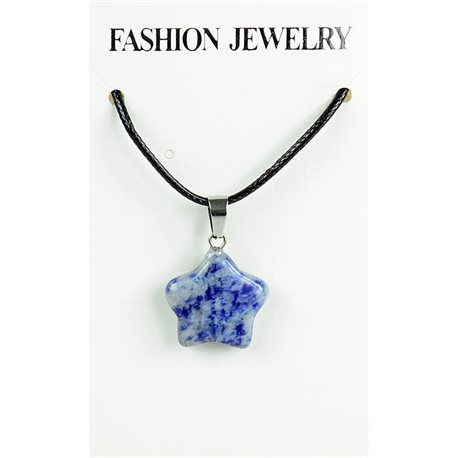 NEW Necklace Pendant in Stone Agate Lilac on cord L43-48cm 79327
