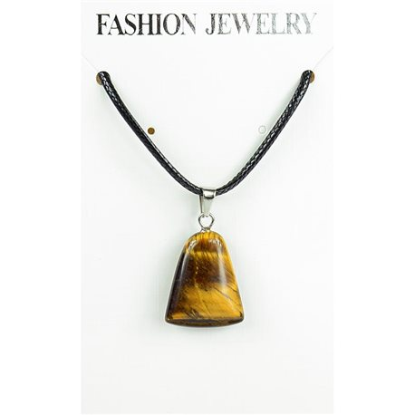 NEW Tiger Eye Stone Pendant Necklace on cord L43-48cm 79333