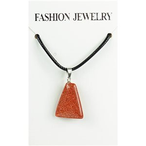 NEW Necklace Pendant in Stone of the Red Sun on a cord L43-48cm 79339