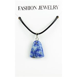 NEW Necklace Pendant in Stone Agate Lilac on cord L43-48cm 79340
