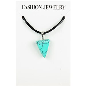 NEW Turquoise Howlite Stone Pendant Necklace on cord L43-48cm 79347