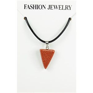 NEW Necklace Pendant in Stone of the Red Sun on a cord L43-48cm 79352
