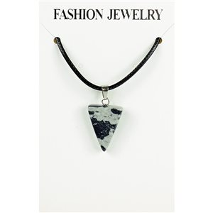 NEW Speckled Obsidian Stone Pendant Necklace on cord L43-48cm 79354