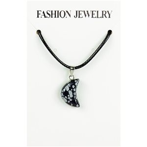 NEW Speckled Obsidian Stone Pendant Necklace on cord L43-48cm 79369