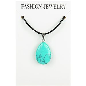 NEW Turquoise Howlite Stone Pendant Necklace on cord L43-48cm 79377