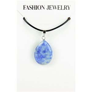 NEW Necklace Pendant in Stone Agate Lilac on cord L43-48cm 79383