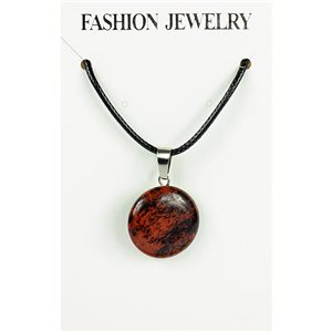 NEW Pendant Necklace in Mahogany Obsidian Stone on cord L43-48cm 79397