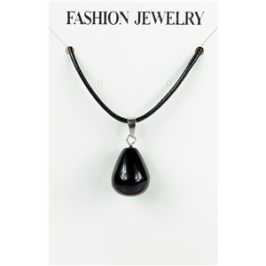 NEW Black Obsidian Stone Pendant Necklace on a cord L43-48cm 79399
