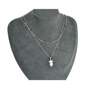 NEW Pretty Pendant Necklace on fine chain all in Stainless Steel 79444
