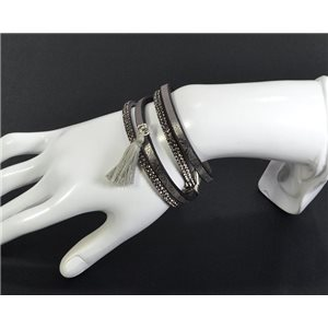 Chic Leather Bracelet Fashion appearance and Rhinestone Clasp Magnetic L39cm 66996