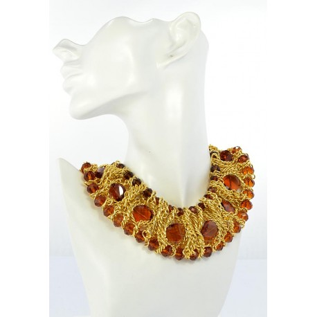 Riviere Necklace Crystal Beads of metal on partitioned L44cm 644