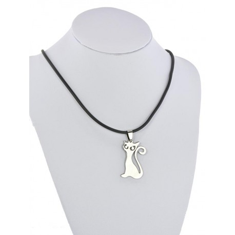 Pendant Necklace Stainless Steel on 64677 Silicone L50cm