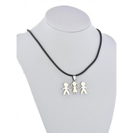Pendant Necklace Stainless Steel on 64693 Silicone L50cm