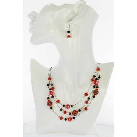 Adornment Collier Suspension 3 Rank Beads and Jewelry 65355