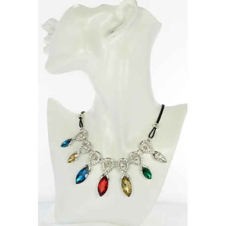 Riviere necklace Rhinestone and Zircon on waxed cord L48cm 65376
