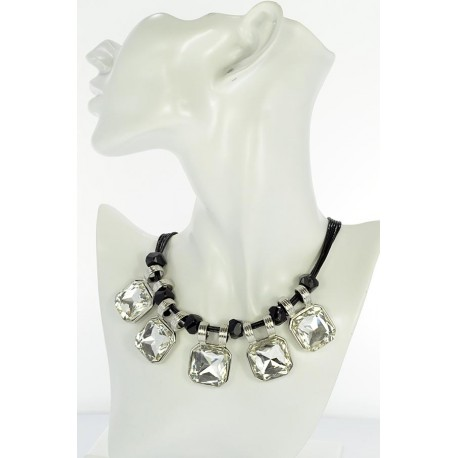Riviere Necklace Strass on waxed cord L48cm 65385