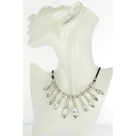 Riviere Necklace Rhinestone and Zircon on waxed cord L48cm 65391