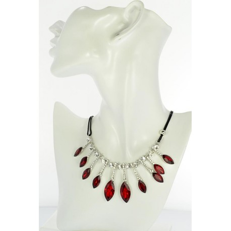 Riviere Necklace Rhinestone and Zircon on waxed cord L48cm 65392