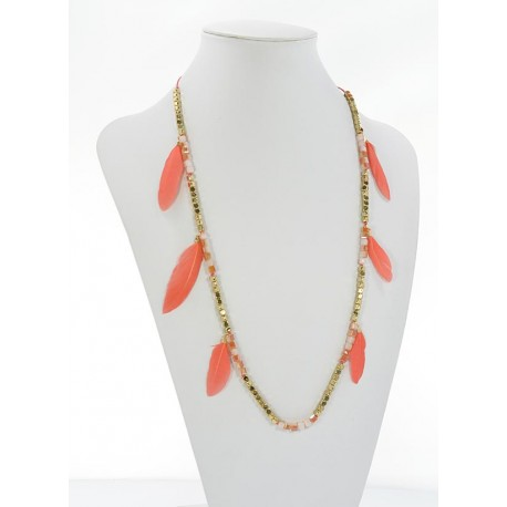 Long Necklace Summer Feathers on Stones and Jewelry L90cm 65630