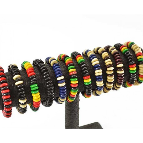 12 Bracelets wireline élastic Wood Beads 12mm 55635