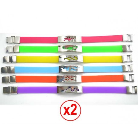 NEW Stainless Steel Bracelet 12 and Silicone FLUO 57045