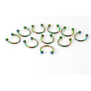 10 piercings circular 2 balls rainbow d1.2mm L10mm surgical steel 68908