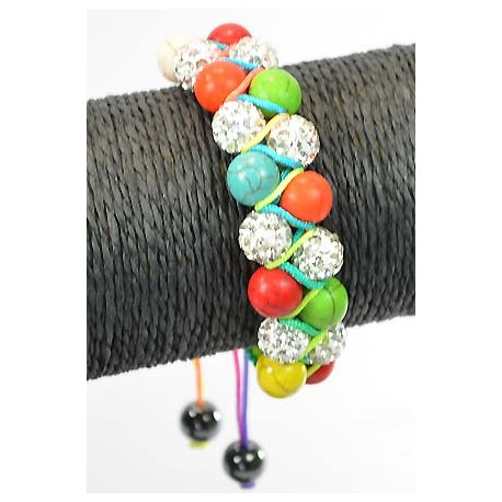 Adjustable Bracelet 8 Pierre Balls Strass 60618