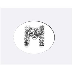 Initial Full Rhinestone Bracelet 8mm to 6mm first Letter M 69177