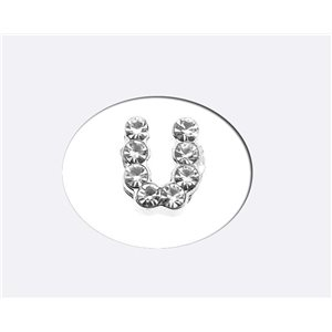 Initial Full Rhinestone Bracelet 8mm to 6mm first Letter U 69185