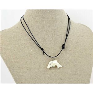 Dolphin Necklace Pendant Nacre on adjustable drawstring bow 70720