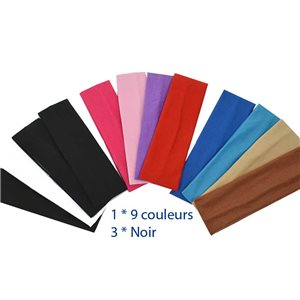 lot 12 polyester hair headbands 10 colors 5cm width 70686